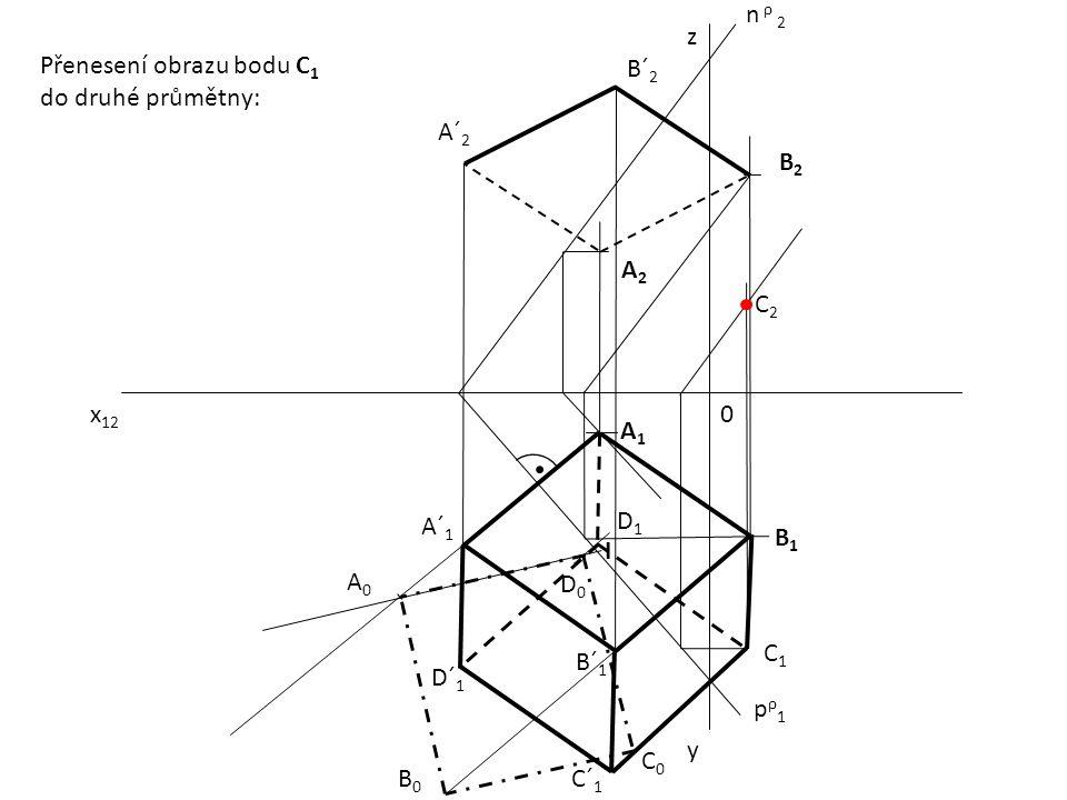 x 12 0 z y pρ1pρ1 n ρ 2 A1A1 B2B2 A2A2 B1B1 A´ 1 B´ 1 A´ 2 B´ 2 A0A0 B0B0 D0D0 C0C0 I D1D1 C1C1 C´ 1 D´ 1 C2C2 Přenesení obrazu bodu C 1 do druhé prům
