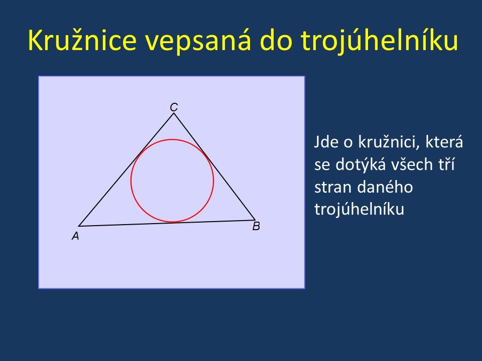 Kružnice vepsaná do trojúhelníku Jde o kružnici, která se dotýká všech tří stran daného trojúhelníku