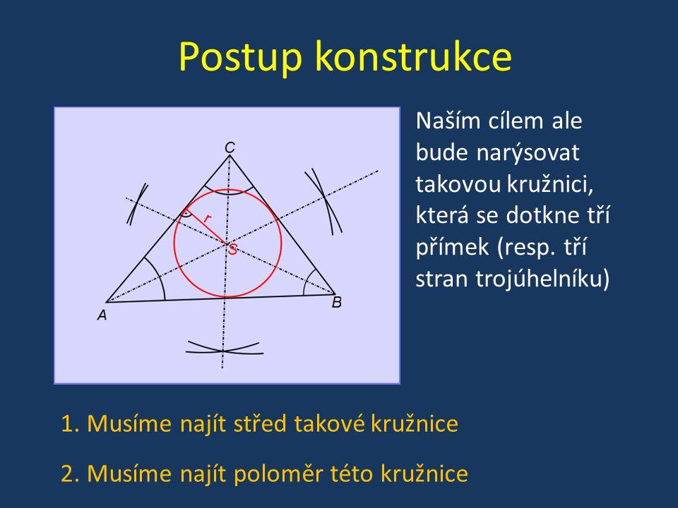 Postup konstrukce Naším cílem ale bude narýsovat takovou kružnici, která se dotkne tří přímek (resp.
