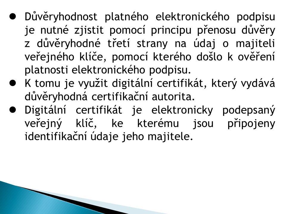 Důvěryhodnost platného elektronického podpisu je nutné zjistit pomocí principu přenosu důvěry z důvěryhodné třetí strany na údaj o majiteli veřejného klíče, pomocí kterého došlo k ověření platnosti elektronického podpisu.