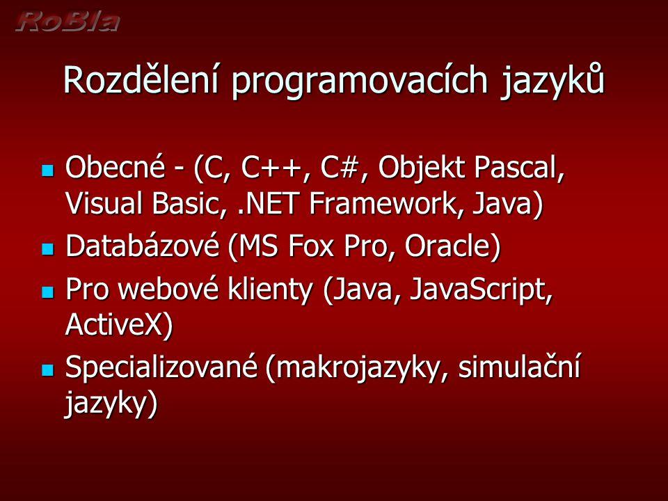 Možnosti zápisu algoritmů Slovní vyjádření Slovní vyjádření Matematické vyjádření Matematické vyjádření Vývojové diagramy Vývojové diagramy Rozhodovací tabulky Rozhodovací tabulky Počítačové programy Počítačové programy Objektová analýza Objektová analýza