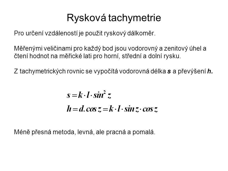 Rysková tachymetrie Pro určení vzdáleností je použit ryskový dálkoměr. Měřenými veličinami pro každý bod jsou vodorovný a zenitový úhel a čtení hodnot