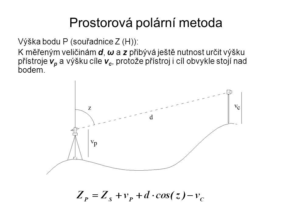 Prostorová polární metoda Výška bodu P (souřadnice Z (H)): K měřeným veličinám d, ω a z přibývá ještě nutnost určit výšku přístroje v p a výšku cíle v