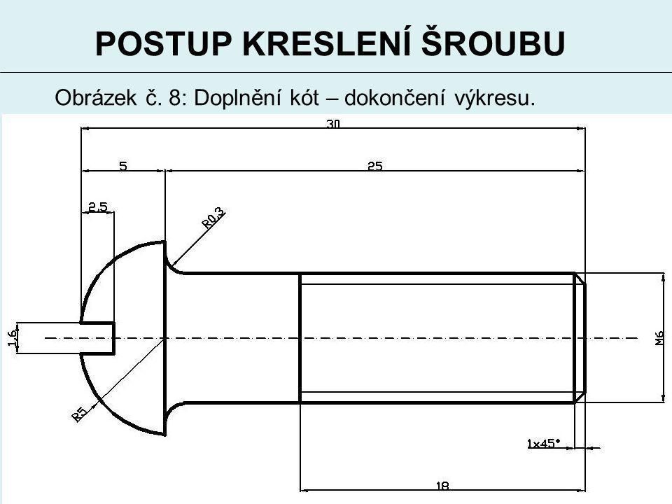 10 POSTUP KRESLENÍ ŠROUBU Obrázek č. 8: Doplnění kót – dokončení výkresu.