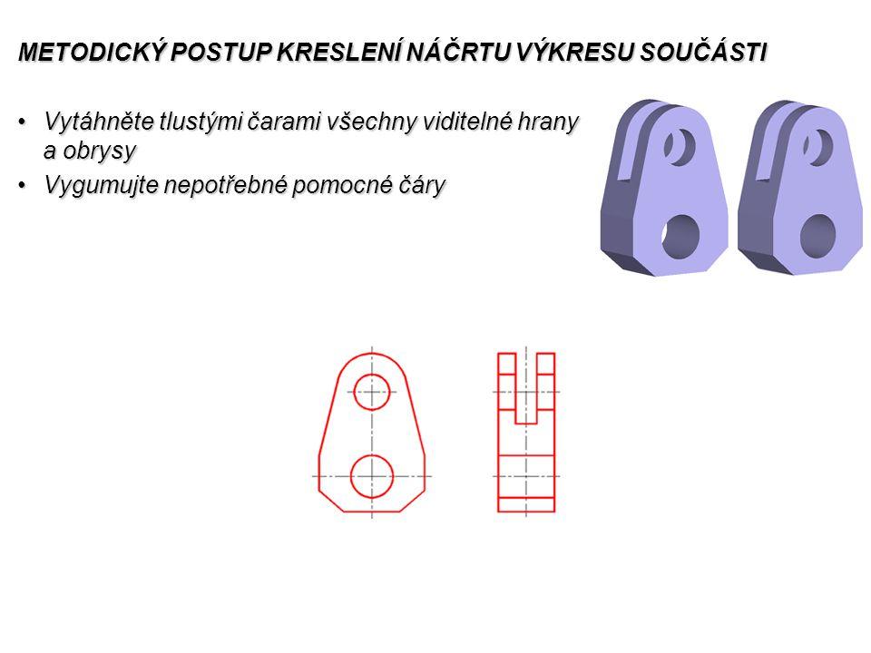 METODICKÝ POSTUP KRESLENÍ NÁČRTU VÝKRESU SOUČÁSTI Vytáhněte tlustými čarami všechny viditelné hrany a obrysyVytáhněte tlustými čarami všechny viditelné hrany a obrysy Vygumujte nepotřebné pomocné čáryVygumujte nepotřebné pomocné čáry