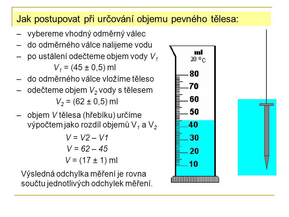 Jak postupovat při určování objemu pevného tělesa: –objem V tělesa (hřebíku) určíme výpočtem jako rozdíl objemů V 1 a V 2 –vybereme vhodný odměrný válec –do odměrného válce nalijeme vodu –po ustálení odečteme objem vody V 1 V 1 = (45 ± 0,5) ml –do odměrného válce vložíme těleso –odečteme objem V 2 vody s tělesem V 2 = (62 ± 0,5) ml V = V2 – V1 V = 62 – 45 V = (17 ± 1) ml Výsledná odchylka měření je rovna součtu jednotlivých odchylek měření.