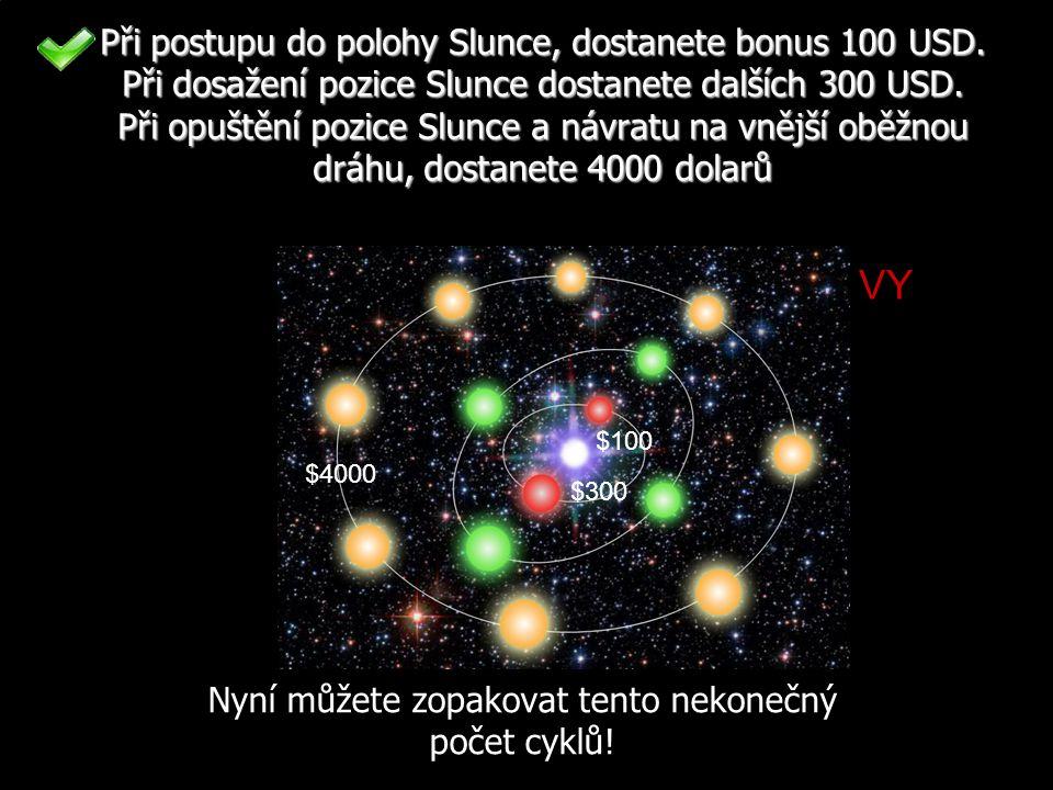 Při postupu do polohy Slunce, dostanete bonus 100 USD.