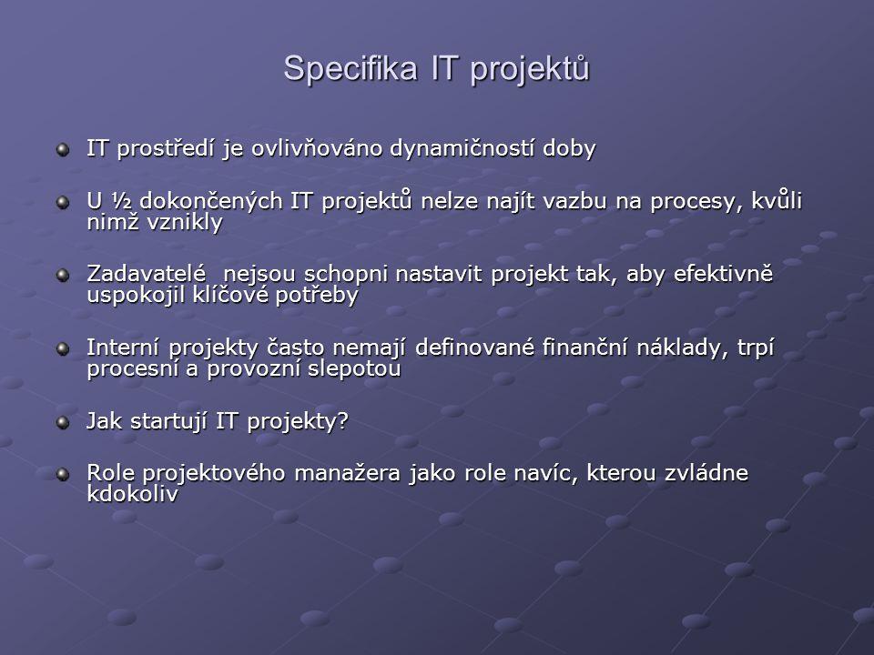 Specifika IT projektů IT prostředí je ovlivňováno dynamičností doby U ½ dokončených IT projektů nelze najít vazbu na procesy, kvůli nimž vznikly Zadavatelé nejsou schopni nastavit projekt tak, aby efektivně uspokojil klíčové potřeby Interní projekty často nemají definované finanční náklady, trpí procesní a provozní slepotou Jak startují IT projekty.