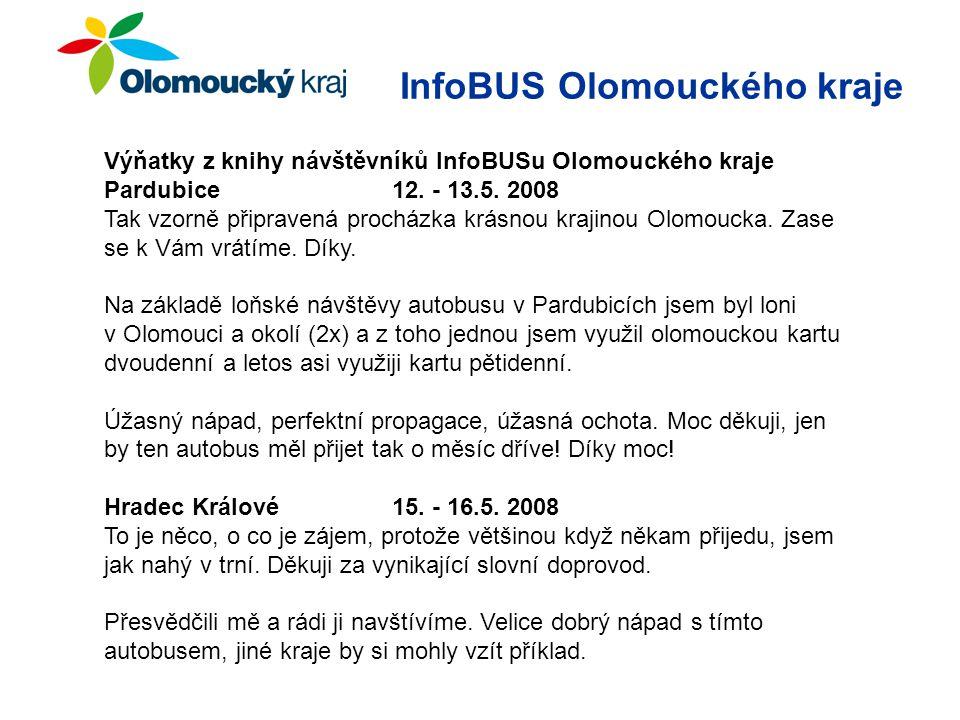 Výňatky z knihy návštěvníků InfoBUSu Olomouckého kraje Pardubice 12.
