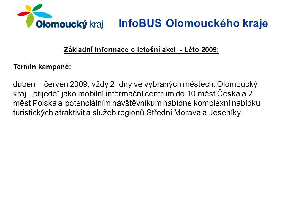 InfoBUS Olomouckého kraje Základní informace o letošní akci - Léto 2009: Termín kampaně: duben – červen 2009, vždy 2 dny ve vybraných městech.