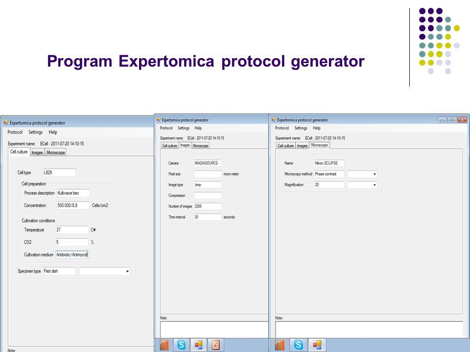 Program Expertomica protocol generator