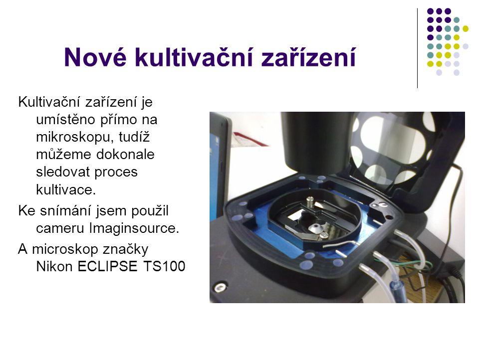 Nové kultivační zařízení Kultivační zařízení je umístěno přímo na mikroskopu, tudíž můžeme dokonale sledovat proces kultivace.
