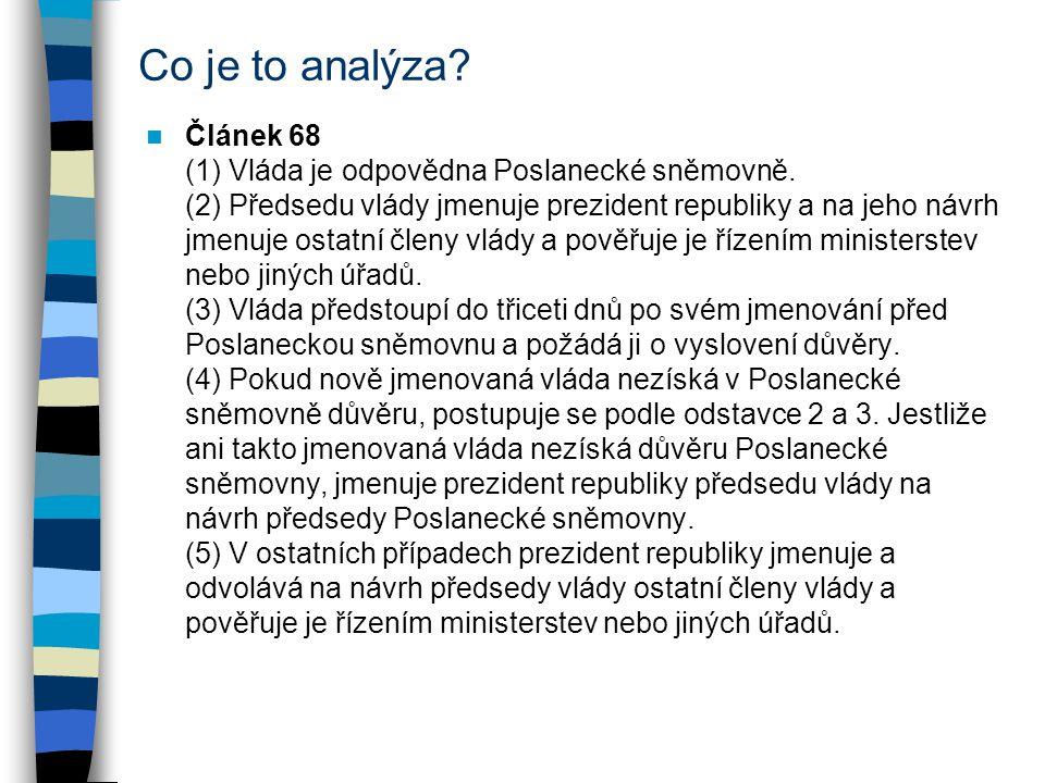 Co je to analýza? Článek 68 (1) Vláda je odpovědna Poslanecké sněmovně. (2) Předsedu vlády jmenuje prezident republiky a na jeho návrh jmenuje ostatní