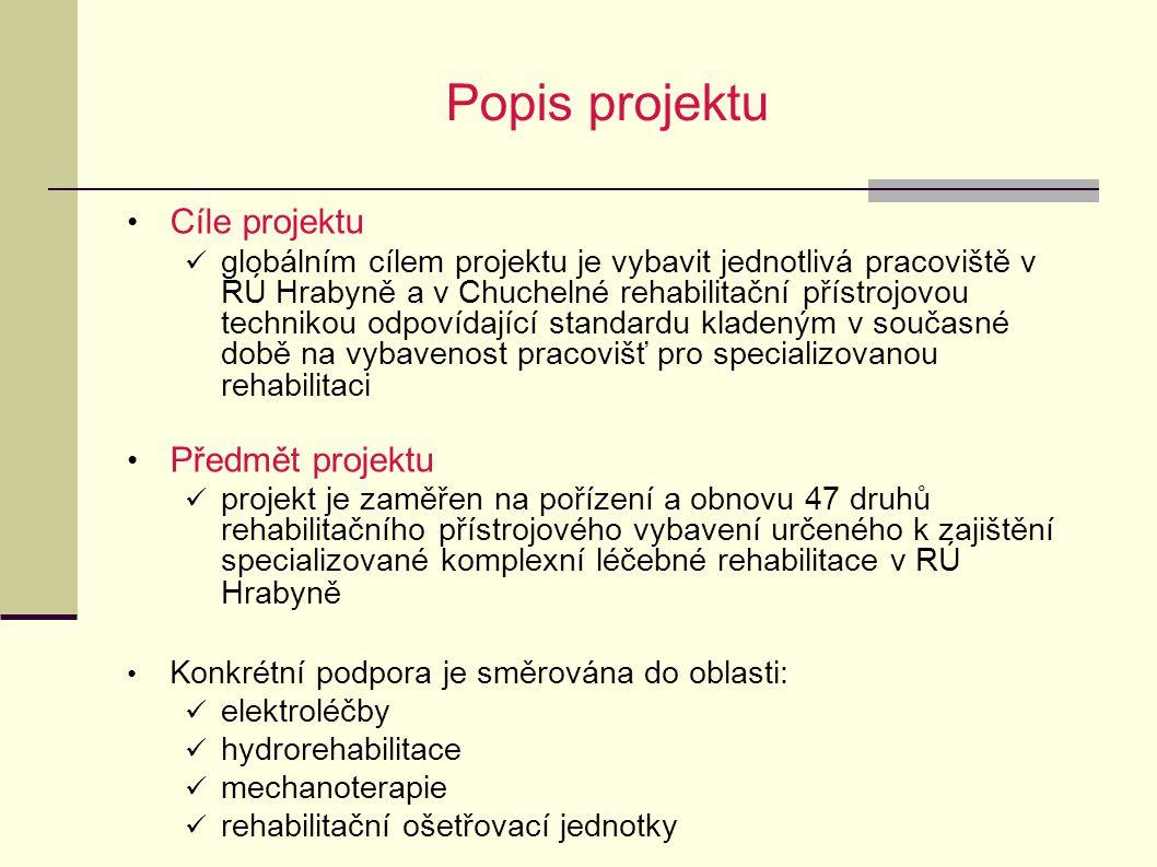 Popis projektu Cíle projektu globálním cílem projektu je vybavit jednotlivá pracoviště v RÚ Hrabyně a v Chuchelné rehabilitační přístrojovou technikou