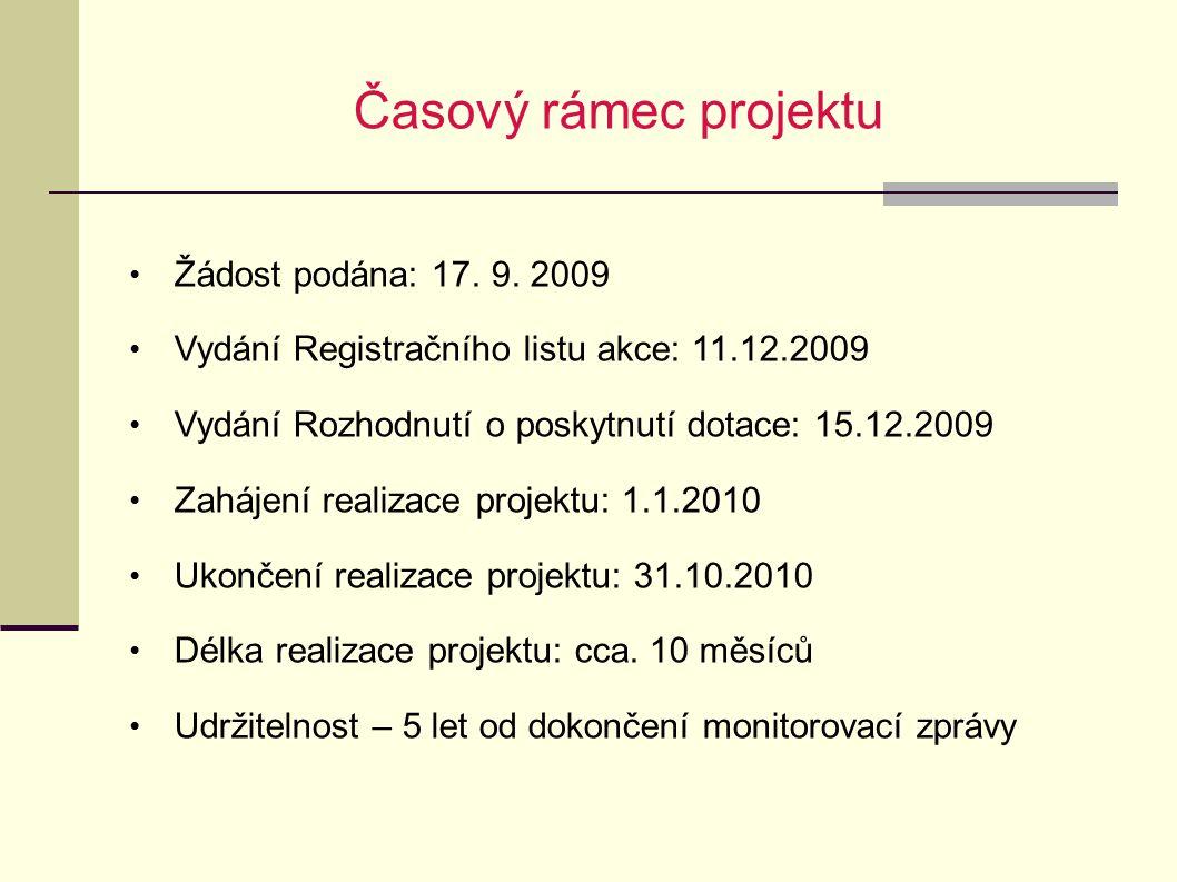 Časový rámec projektu Žádost podána: 17. 9. 2009 Vydání Registračního listu akce: 11.12.2009 Vydání Rozhodnutí o poskytnutí dotace: 15.12.2009 Zahájen