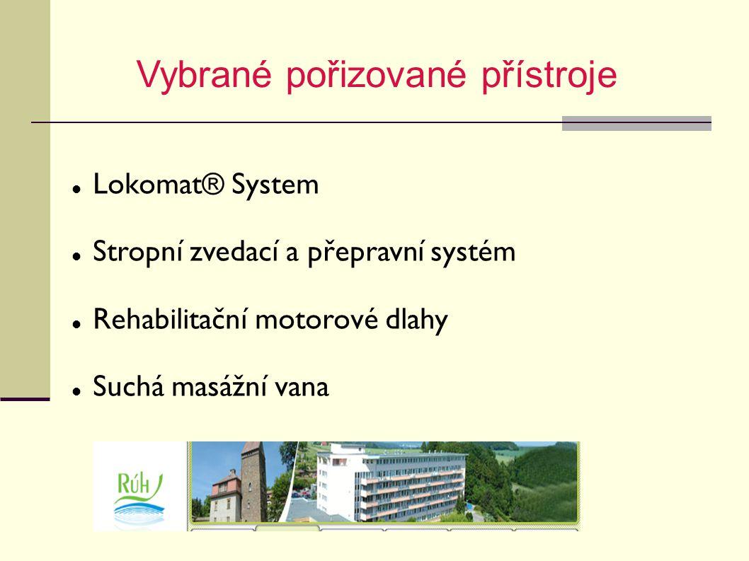 Vybrané pořizované přístroje Lokomat® System Stropní zvedací a přepravní systém Rehabilitační motorové dlahy Suchá masážní vana