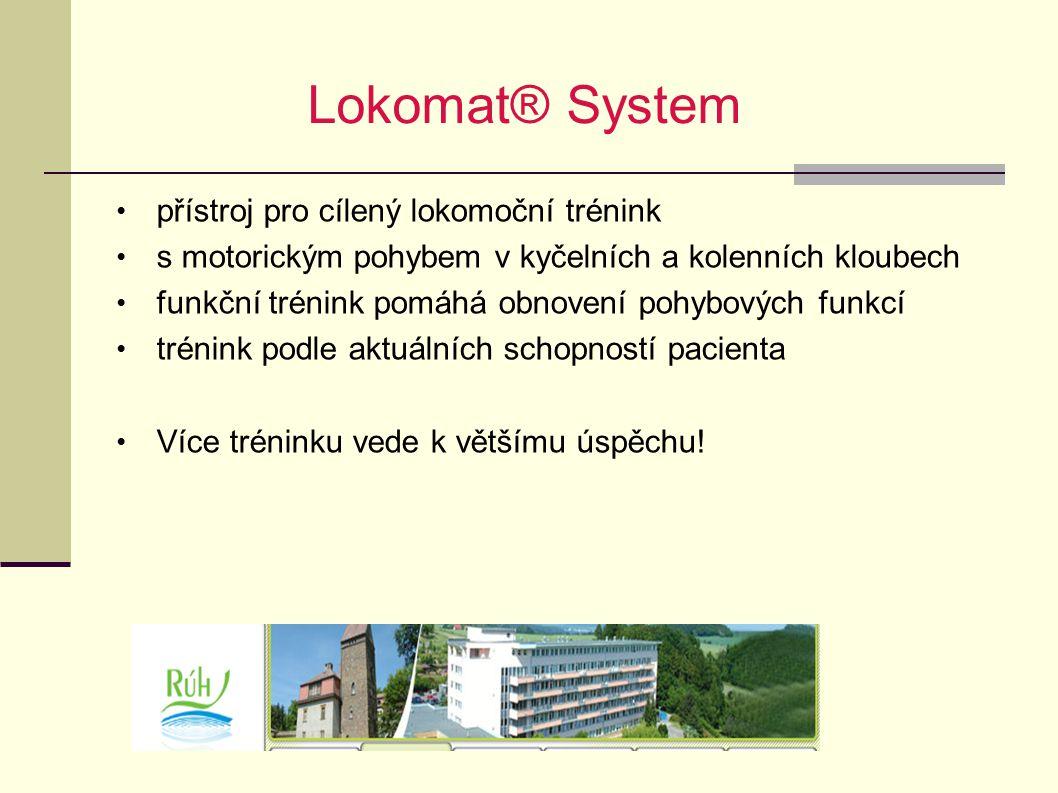 Lokomat® System přístroj pro cílený lokomoční trénink s motorickým pohybem v kyčelních a kolenních kloubech funkční trénink pomáhá obnovení pohybových