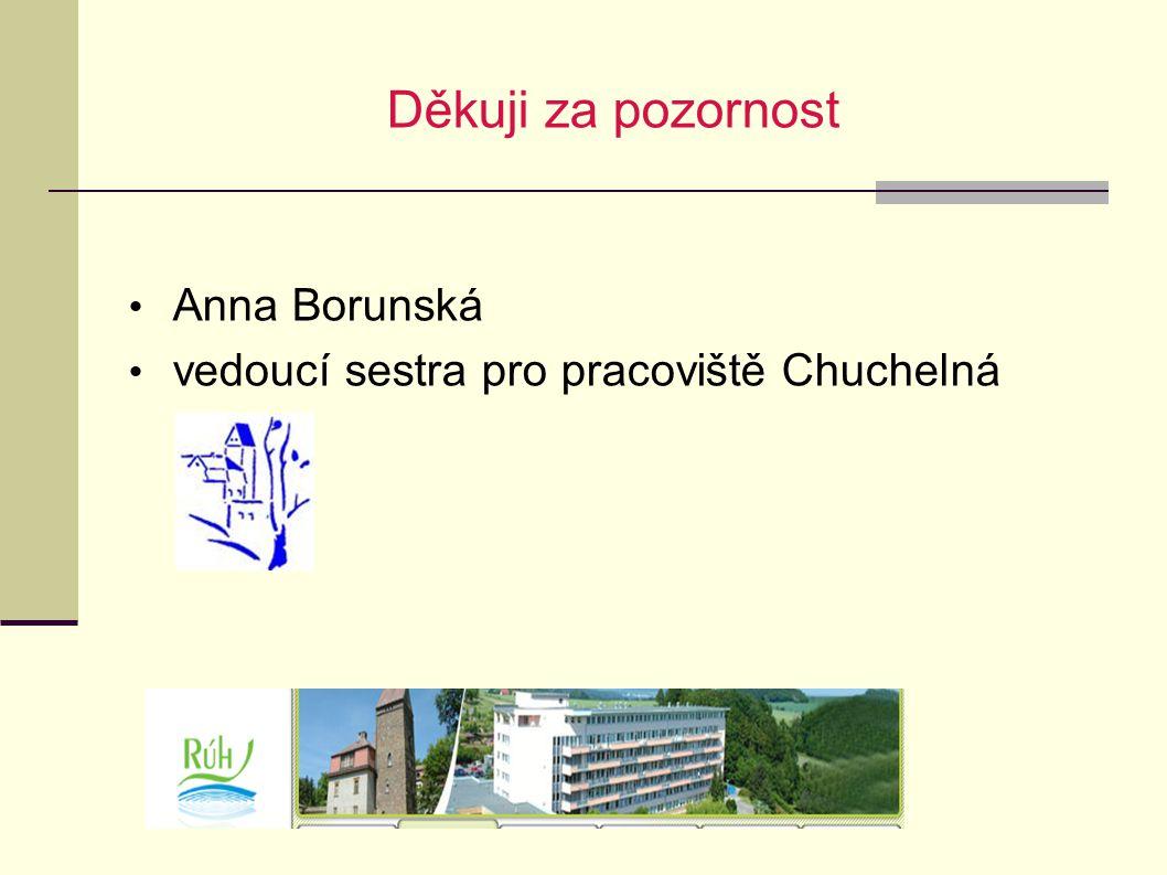 Děkuji za pozornost Anna Borunská vedoucí sestra pro pracoviště Chuchelná
