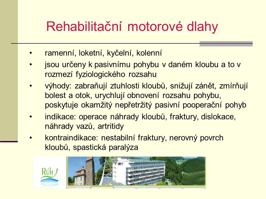 Rehabilitační motorové dlahy ramenní, loketní, kyčelní, kolenní jsou určeny k pasivnímu pohybu v daném kloubu a to v rozmezí fyziologického rozsahu vý