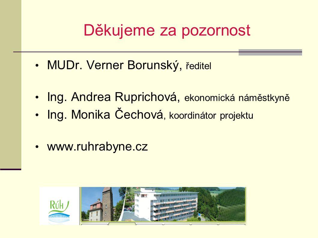 Děkujeme za pozornost MUDr. Verner Borunský, ředitel Ing. Andrea Ruprichová, ekonomická náměstkyně Ing. Monika Čechová, koordinátor projektu www.ruhra
