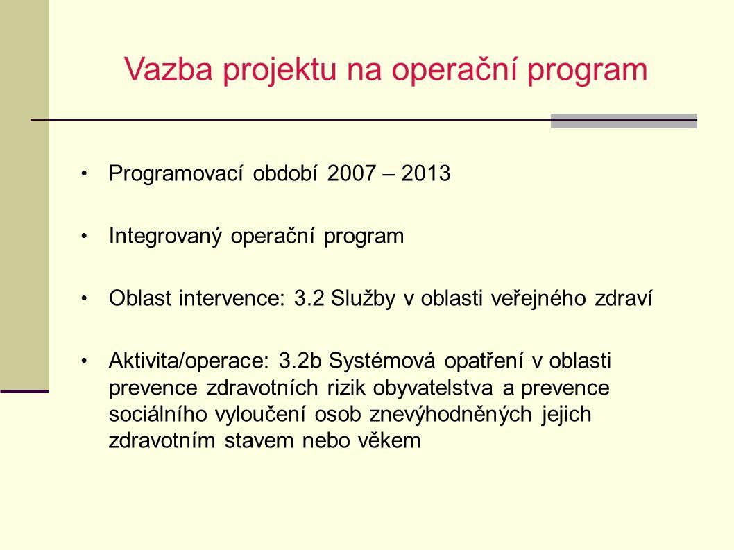 Vazba projektu na operační program Programovací období 2007 – 2013 Integrovaný operační program Oblast intervence: 3.2 Služby v oblasti veřejného zdra