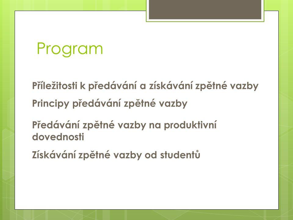 Program Příležitosti k předávání a získávání zpětné vazby Principy předávání zpětné vazby Předávání zpětné vazby na produktivní dovednosti Získávání z