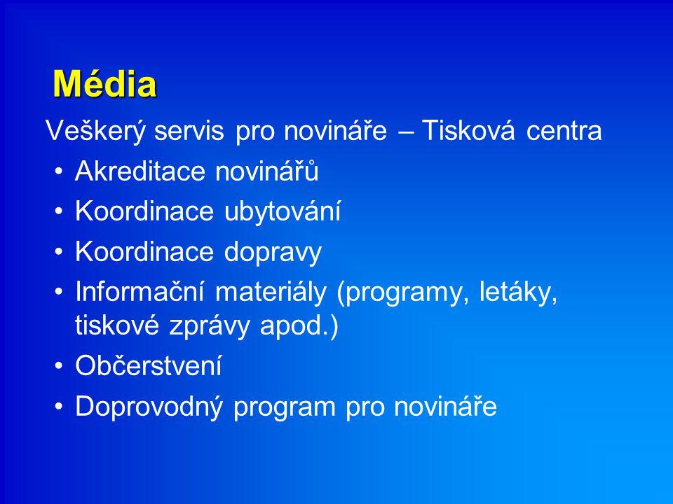 Média Veškerý servis pro novináře – Tisková centra Akreditace novinářů Koordinace ubytování Koordinace dopravy Informační materiály (programy, letáky, tiskové zprávy apod.) Občerstvení Doprovodný program pro novináře