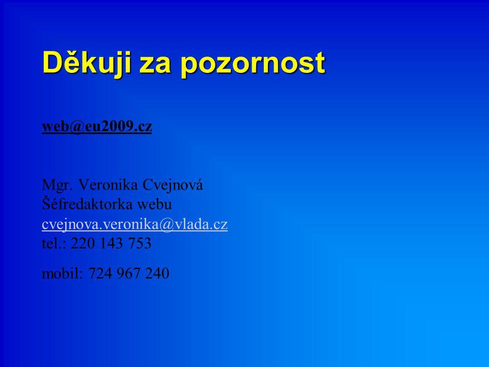 Děkuji za pozornost Děkuji za pozornost web@eu2009.cz Mgr. Veronika Cvejnová Šéfredaktorka webu cvejnova.veronika@vlada.cz tel.: 220 143 753 mobil: 72