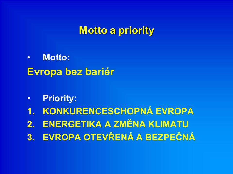 Motto a priority Motto: Evropa bez bariér Priority: 1.KONKURENCESCHOPNÁ EVROPA 2.ENERGETIKA A ZMĚNA KLIMATU 3.EVROPA OTEVŘENÁ A BEZPEČNÁ