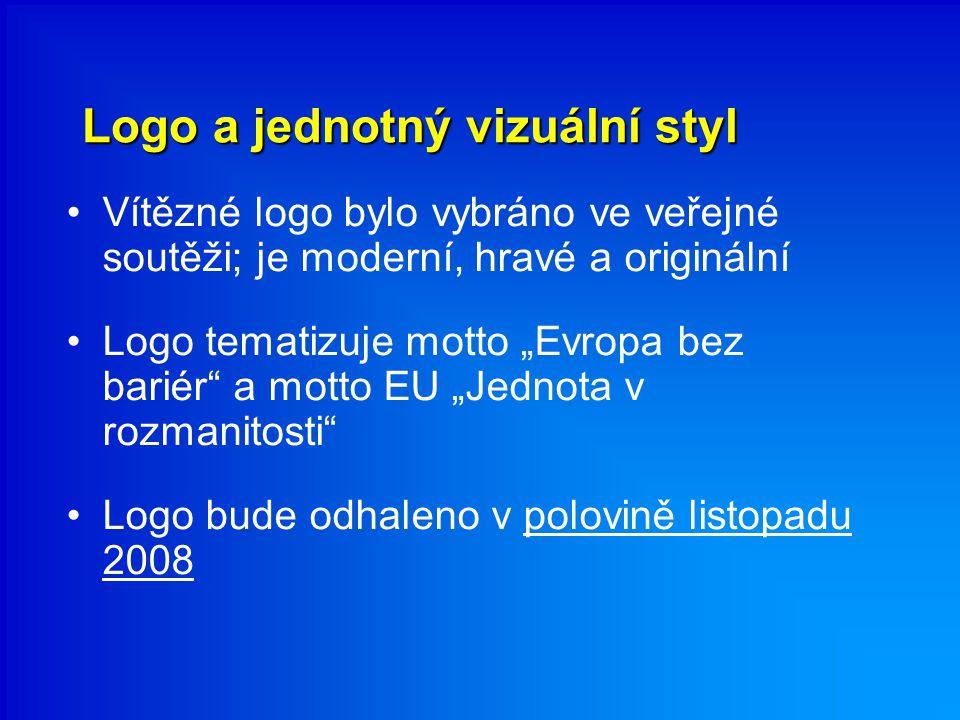 """Logo a jednotný vizuální styl Vítězné logo bylo vybráno ve veřejné soutěži; je moderní, hravé a originální Logo tematizuje motto """"Evropa bez bariér a motto EU """"Jednota v rozmanitosti Logo bude odhaleno v polovině listopadu 2008"""
