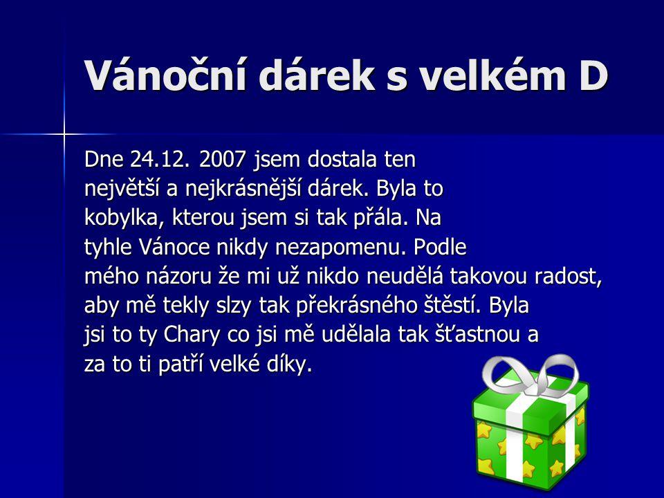 Vánoční dárek s velkém D Dne 24.12. 2007 jsem dostala ten největší a nejkrásnější dárek.