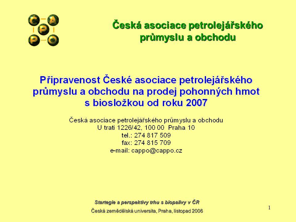 Startegie a perspektivy trhu s biopalivy v ČR Česká zemědělská universita, Praha, listopad 2006 11 Česká asociace petrolejářského průmyslu a obchodu