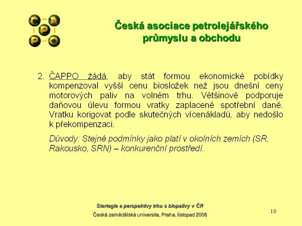Startegie a perspektivy trhu s biopalivy v ČR Česká zemědělská universita, Praha, listopad 2006 9 Česká asociace petrolejářského průmyslu a obchodu