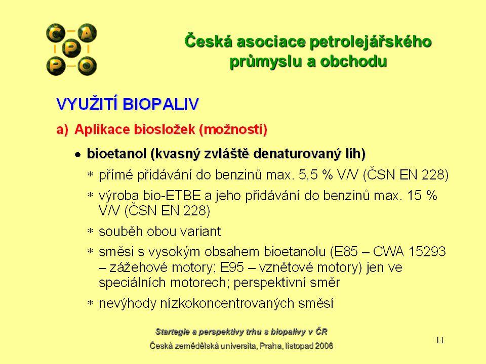 Startegie a perspektivy trhu s biopalivy v ČR Česká zemědělská universita, Praha, listopad 2006 10 Česká asociace petrolejářského průmyslu a obchodu