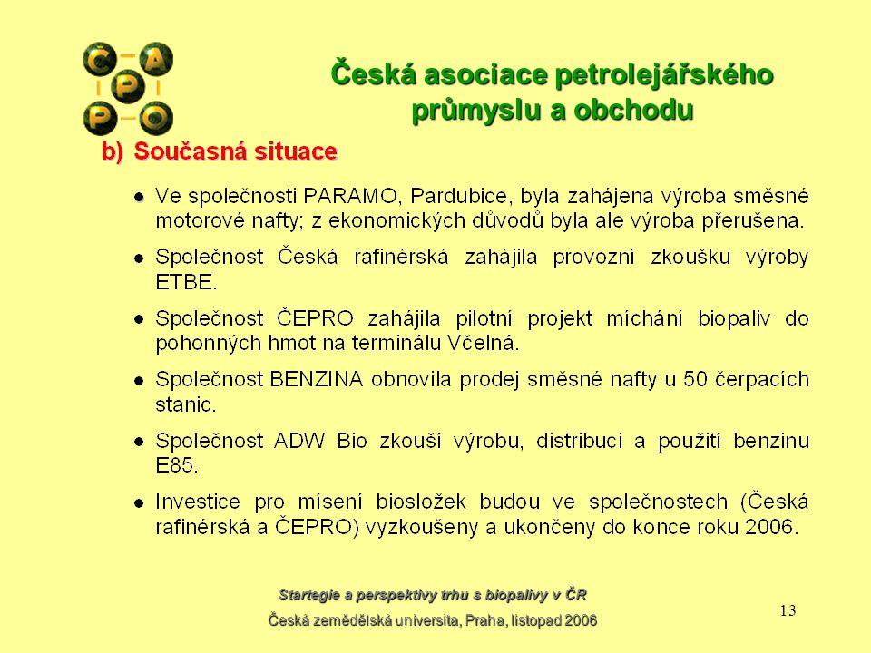 Startegie a perspektivy trhu s biopalivy v ČR Česká zemědělská universita, Praha, listopad 2006 12 Česká asociace petrolejářského průmyslu a obchodu
