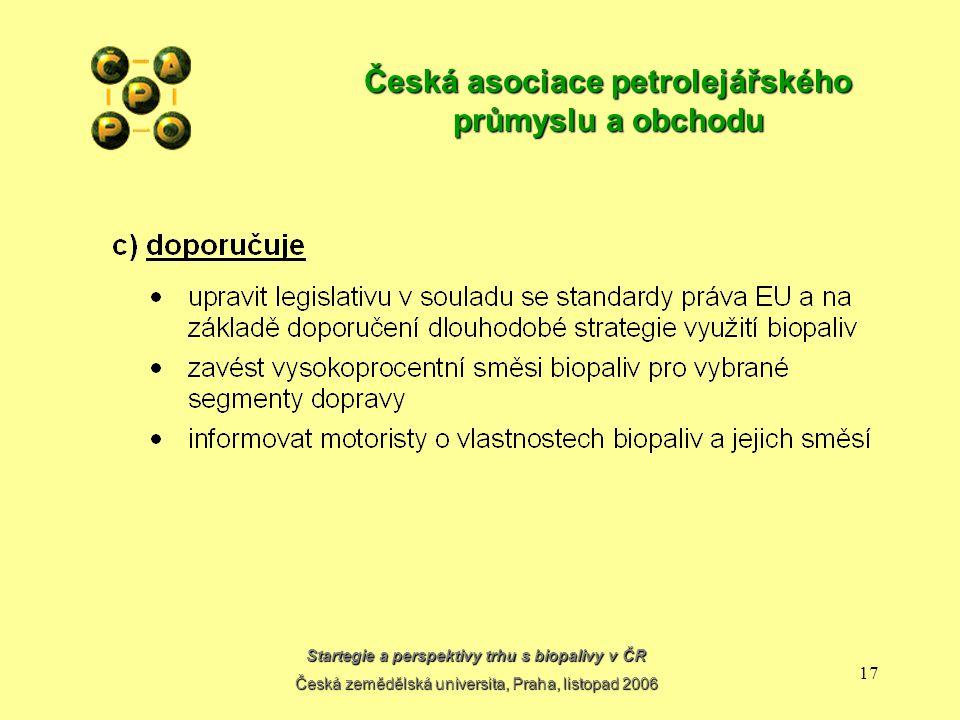 Startegie a perspektivy trhu s biopalivy v ČR Česká zemědělská universita, Praha, listopad 2006 16 Česká asociace petrolejářského průmyslu a obchodu