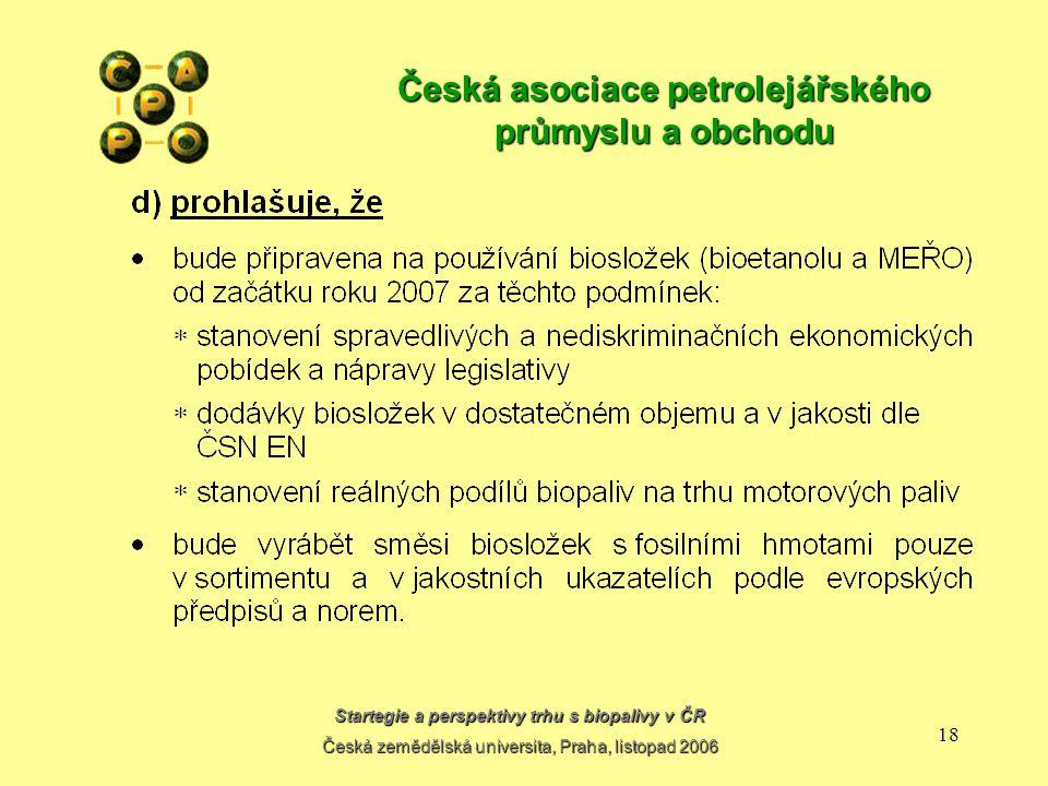 Startegie a perspektivy trhu s biopalivy v ČR Česká zemědělská universita, Praha, listopad 2006 17 Česká asociace petrolejářského průmyslu a obchodu