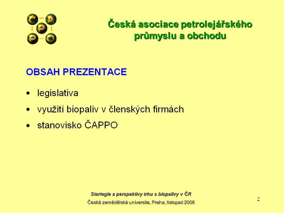 Startegie a perspektivy trhu s biopalivy v ČR Česká zemědělská universita, Praha, listopad 2006 1 Česká asociace petrolejářského průmyslu a obchodu