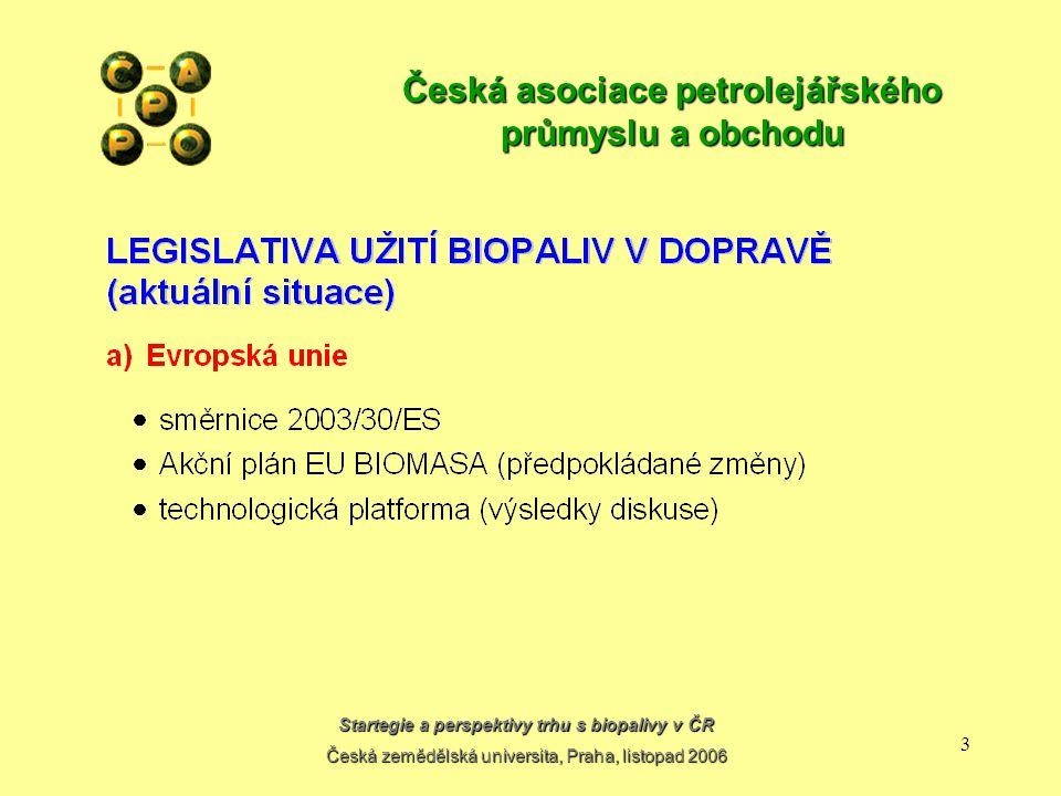 Startegie a perspektivy trhu s biopalivy v ČR Česká zemědělská universita, Praha, listopad 2006 13 Česká asociace petrolejářského průmyslu a obchodu