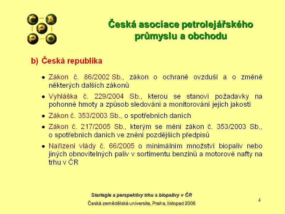 Startegie a perspektivy trhu s biopalivy v ČR Česká zemědělská universita, Praha, listopad 2006 14 Česká asociace petrolejářského průmyslu a obchodu