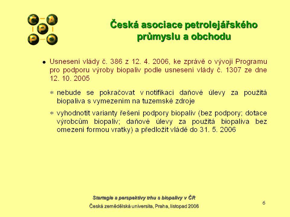 Startegie a perspektivy trhu s biopalivy v ČR Česká zemědělská universita, Praha, listopad 2006 6 Česká asociace petrolejářského průmyslu a obchodu