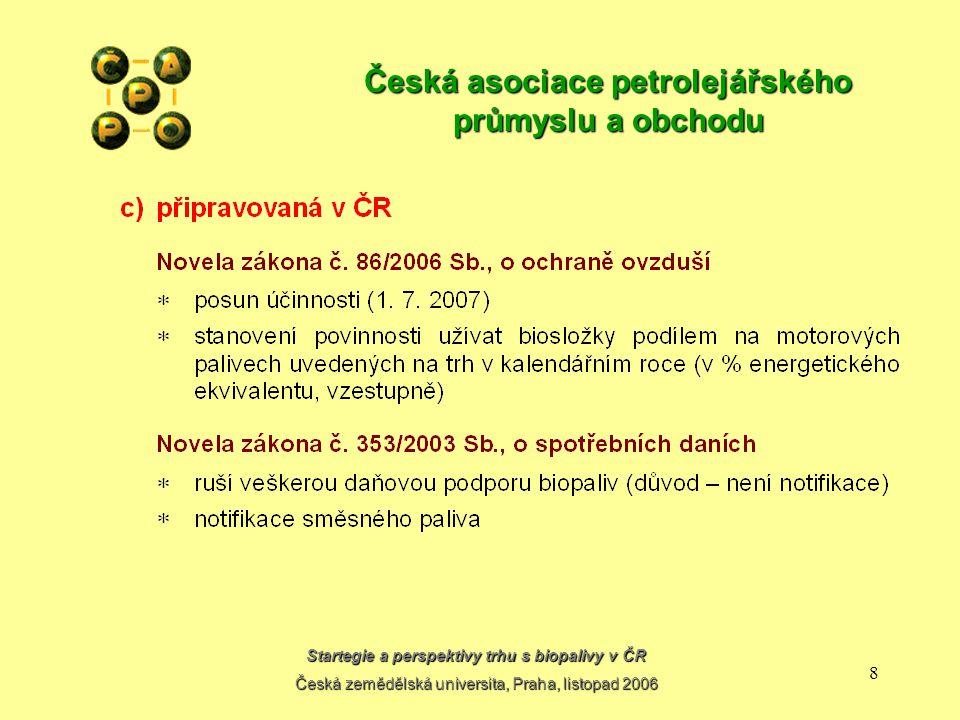 Startegie a perspektivy trhu s biopalivy v ČR Česká zemědělská universita, Praha, listopad 2006 8 Česká asociace petrolejářského průmyslu a obchodu