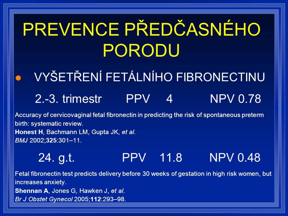 PREVENCE PŘEDČASNÉHO PORODU VYŠETŘENÍ FETÁLNÍHO FIBRONECTINU 2.-3.