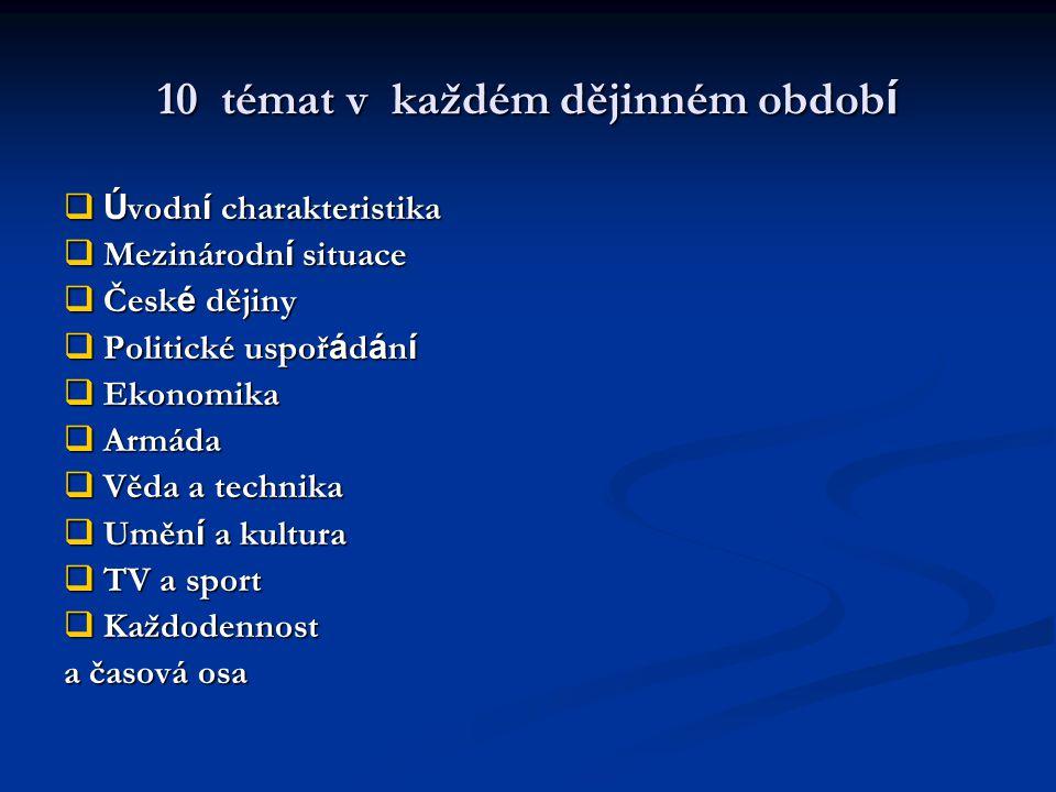 10 témat v každém dějinném obdob í  Ú vodn í charakteristika  Mezinárodn í situace  Česk é dějiny  Politické uspoř á d á n í  Ekonomika  Armáda