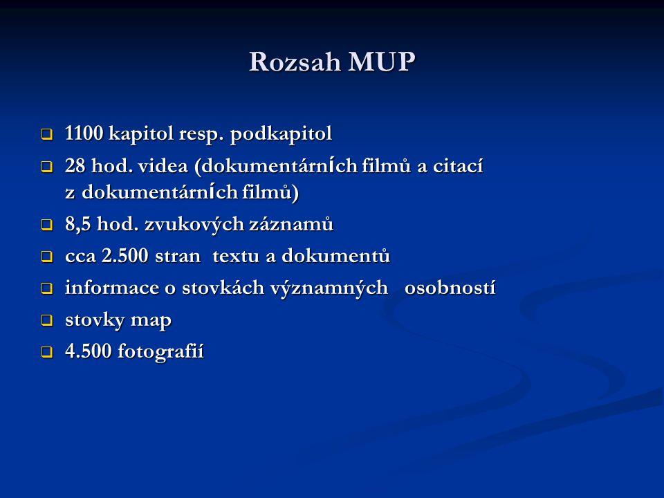 Rozsah MUP  1100 kapitol resp. podkapitol  28 hod.