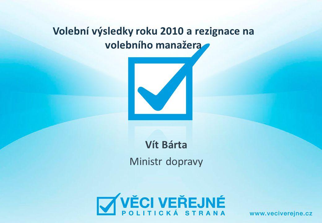 Volební výsledky roku 2010 a rezignace na volebního manažera Vít Bárta Ministr dopravy