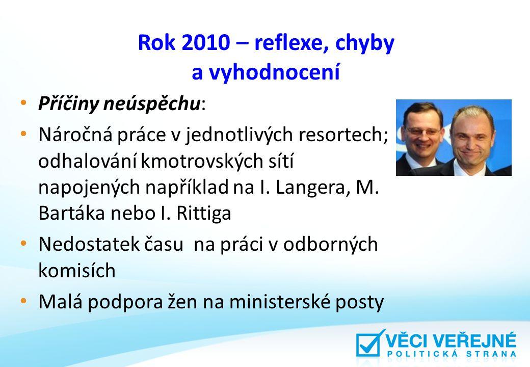 Rok 2010 – reflexe, chyby a vyhodnocení Příčiny neúspěchu: Náročná práce v jednotlivých resortech; odhalování kmotrovských sítí napojených například na I.