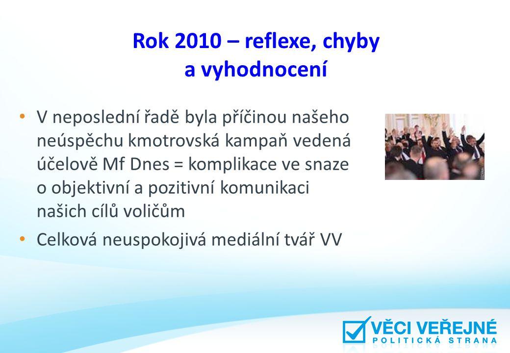 Rok 2010 – reflexe, chyby a vyhodnocení V neposlední řadě byla příčinou našeho neúspěchu kmotrovská kampaň vedená účelově Mf Dnes = komplikace ve snaz