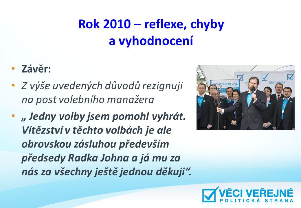 """Rok 2010 – reflexe, chyby a vyhodnocení Závěr: Z výše uvedených důvodů rezignuji na post volebního manažera """" Jedny volby jsem pomohl vyhrát."""