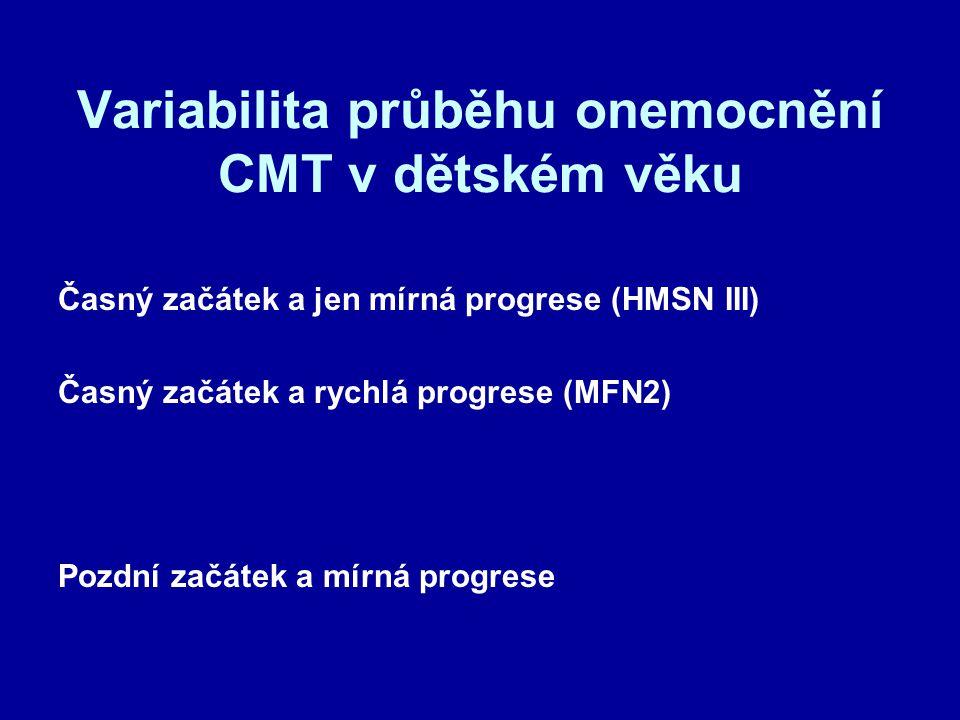 Variabilita průběhu onemocnění CMT v dětském věku Časný začátek a jen mírná progrese (HMSN III) Časný začátek a rychlá progrese (MFN2) Pozdní začátek a mírná progrese